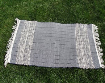 Home Woven Rag Rug Dark Gray to Med Gray Measures 25 x 44 Item#13448