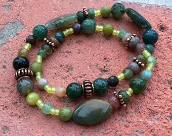 Green Fields:  Bracelet of Lush Green Semi-Precious Stones