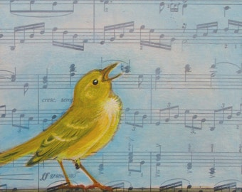 Pachelbel Warbler, bird painting, vintage music, one of a kind, original oil painting, gift for music lover,