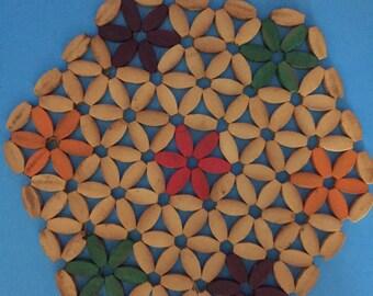 Sale; Wooden Beaded Trivet/Placemat; Star Pattern; Vibrant Colors, Purple, Green, Orange, Pink; 8 1/2 Inch Diameter