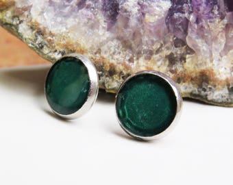 green stainless steel stud earrings,  tiny green earrings, green studs, gift earrings, tiny stud earrings, resin earrings,