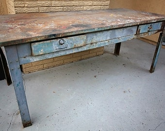 WWII Industrial Metal Work Table with Drawers; Dept. of Defense Plant Corp.