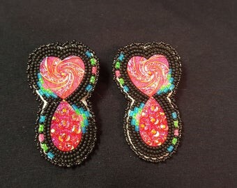 Black and neon beaded earrings