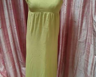 Lime/yellow shimmer 50s full length dress bridesmaid/weddings