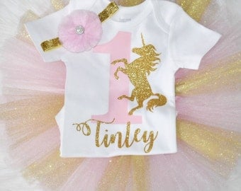 Unicorn pink and gold first birthday onesie or tutu outfit