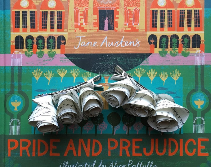 Pride and Prejudice Jane Austen Book Page Flower Hair Clips