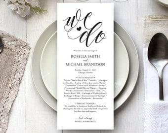 Rustic Wedding Program Template, Wedding Ceremony Program, Printable Programs, Kraft Wedding Program, fan, PDF Instant Download, WPC_251SD3A