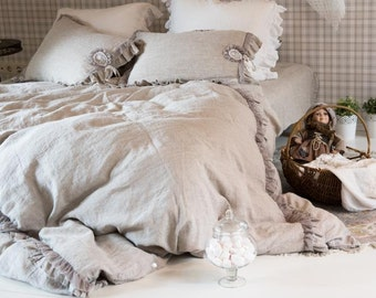 Natural Linen Duvet Cover Romantic Shabby Chic Bedding Stonewashed Duvet Cover Natural Ruffles King, Queen, Twin, Double Frilled Duvet Cover