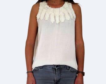 Hippie top, feather collar