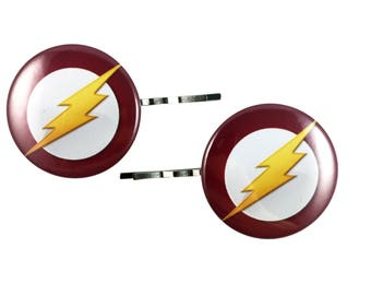 The Flash Bobby Pins - Hair Pins Justice League Superhero Logo Party Favor Costume Cosplay