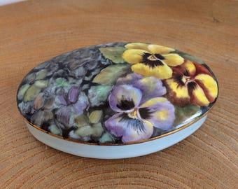 Artist Hand Painted Porcelain Oval Trinket Box - Pansy flowers, Barabara Brunt, original design, signed