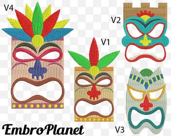 Hawaii Masks - Designs for Embroidery Machine Instant Download Digital Graphic File Stitch 4x4 5x7 inch hoop mask tili tribal retro 534e