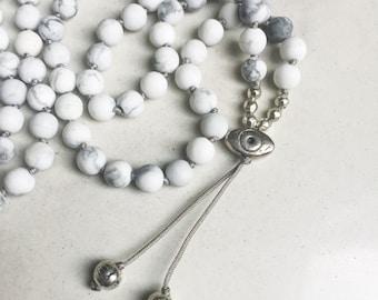 White Howlite Mala Beads | Mala Necklace | 108 Mala Beads | Mala Jewelry | Mala Bracelet | Meditation Beads | Boho Jewelry | Howlite Jewelry