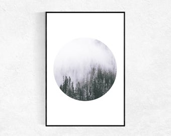 Forest Poster, Minimalist Print,Landscape Poster, Large Wall Art, Scandinavian Print, Circle Photograph, Forest Wall Art, Printable Art