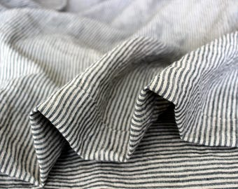 Linen Blanket.Linen Sofa Cover.Gray Stripe Blanket.Linen Sofa Throw.Stone