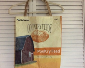 Barn repurposed feed bag/tote bag