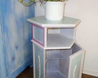 Vintage Telephone Table Flower Cabinet In Romantic Shabby Chic White Mint  Flowers Country House Design Communications