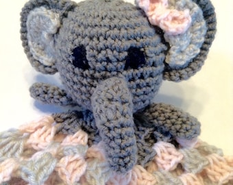 Elephant Lovey Pink and Grey Infant Blanket