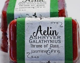 Aelin Ashryver Galathynius Throne of Glass Glycerin Soap Bar - Handmade Custom Book Character Scent - Fragrance, Fire, Shimmery Terrasen