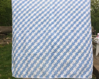 Vintage Blue Checkered Tablecloth {Retro Colors} Small Square Spring Summer  Bright Flower Checkers Embroidered