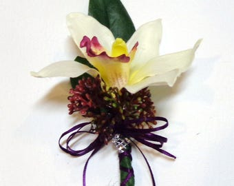 White Plum Silk Cymbidium Orchid Flower Boutonniere-Pin on Boutonniere-Wedding-Prom-Graduation-Special Event Boutonniere-by Floramiagarden