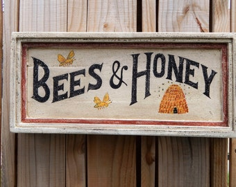 BEES & HONEY vintage style sign, hand made signs, hand painted signs, distressed sign, garden sign, farmhouse sign,nature signs, wooden sign