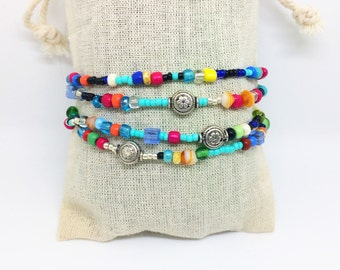 Beaded bracelet with metal beads and colorful glass beads