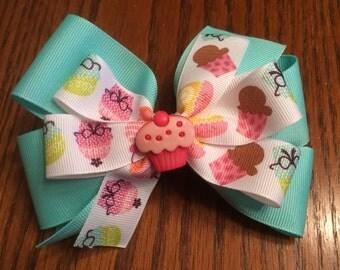 Cupcake Hair Bow, Birthday Hair Bow, Girls Hair Bow, Hair Bow