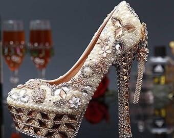 Custom Womens Wedding Shoes, Formal Pearls, Swarovski Crystal Rhinestone High Heel Bling Shoes, Platform, Bridal Bling Shoes