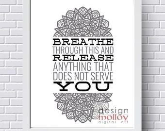 Relaxation Quote - Yoga Art - Yoga Studio Decor - Yoga Quote - Digital Art Download - Printable Yoga Art - Yoga Sayings - Mandala Printable