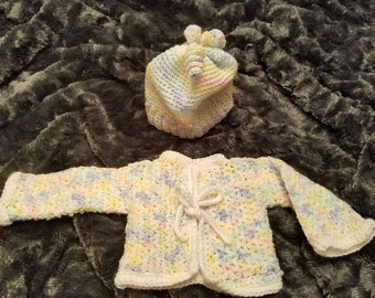 Handcrafted crocheted baby sweater and hat/beanie set, 1 color option left
