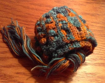 Extra Long Crochet Scarf, Hand Dyed Scarf, Wool Scarf, Autumn Colors, Blue, Orange, Light Blue, Dark Blue, Yarn, Super Scarf, Multicolor