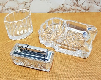 Vintage Predom Lighter, Lead Crystal Violetta Ashtray & Cigarette Holder Set, Made in Poland