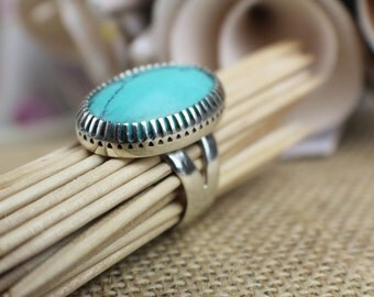 Turquoise and Silver Statement Ring size P