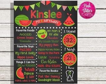 Watermelon Chalkboard,  Watermelon Birthday Chalkboard,  Watermelon Sign, One in a Melon Chalkboard,  One in a Melon,  Watermelon, Chalk