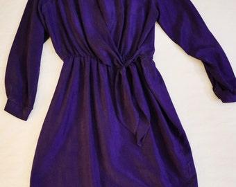 Royal purple silk faux tie waist dress