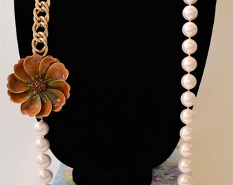 Vintage assemblage statement necklace pearl gold flower