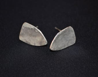 Sterling Silver Earrings - Hammered shields