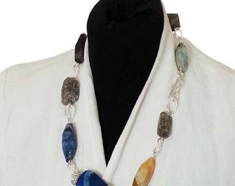 Multi Gemstone bead Necklace,Statement Necklace.Faceted Agate bead necklace. Labradorite Bead Necklace.Gemstone necklace.Jewelry.Pendant