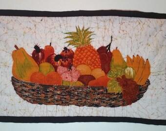 Batik 'Tropical Fruit Basket' wall Picture