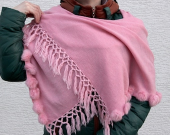 Winter fashion accessories Scarves Blanket Scarf plaid scarf pink scarf evening wrap rabbit fur scarf Winter shawl