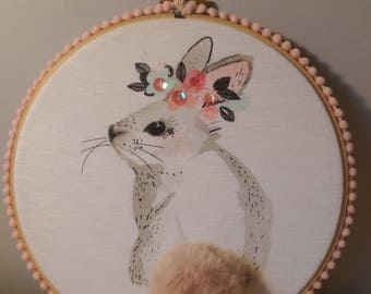 Cute rabbit wall hanging with sparkly flower head dress and fluffy tail