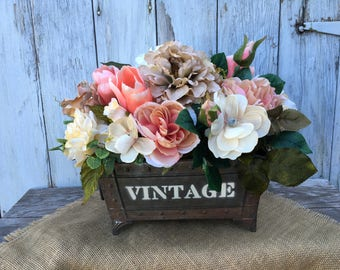 Shabby Chic Floral Arrangement in Metal Container that reads Vintage, Wedding Centerpiece, Home Decor Floral Arrangement, Spring Centerpiece