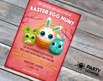 Easter Egg Hunt Invitation, Easter Bunny Invitation, Easter Fun, DIY, Easter Bunny Eggs