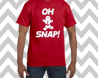 Oh Snap Gingerbread Man Unisex T-Shirt Ugly Christmas Shirt Ugly Sweater Party Funny Christmas Shirt Funny Holiday Tee Christmas Cookie Tee