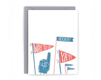 Pennants Congrats Letterpress Card