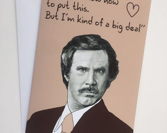 Ron Burgundy - Anchorman A5 Valentines Card