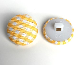 10, gingham buttons, plaid buttons, fabric buttons, 17mm round buttons, yellow buttons, check buttons, gingham check buttons, craft buttons