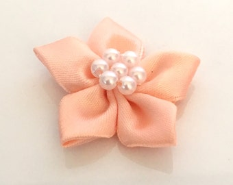 10, satin ribbon flowers, pearl ribbon flowers, peach ribbon flowers, peach ribbon rosettes, satin ribbon rosettes, sewing appliques