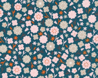 Primrose in Spruce - Stay Gold by Aneela Hoey - Cloud 9 Organic cotton fabric